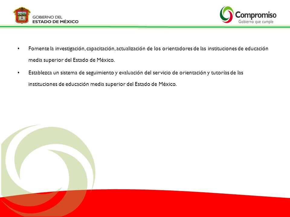 Fomente la investigación, capacitación, actualización de los orientadores de las instituciones de educación media superior del Estado de México. Estab