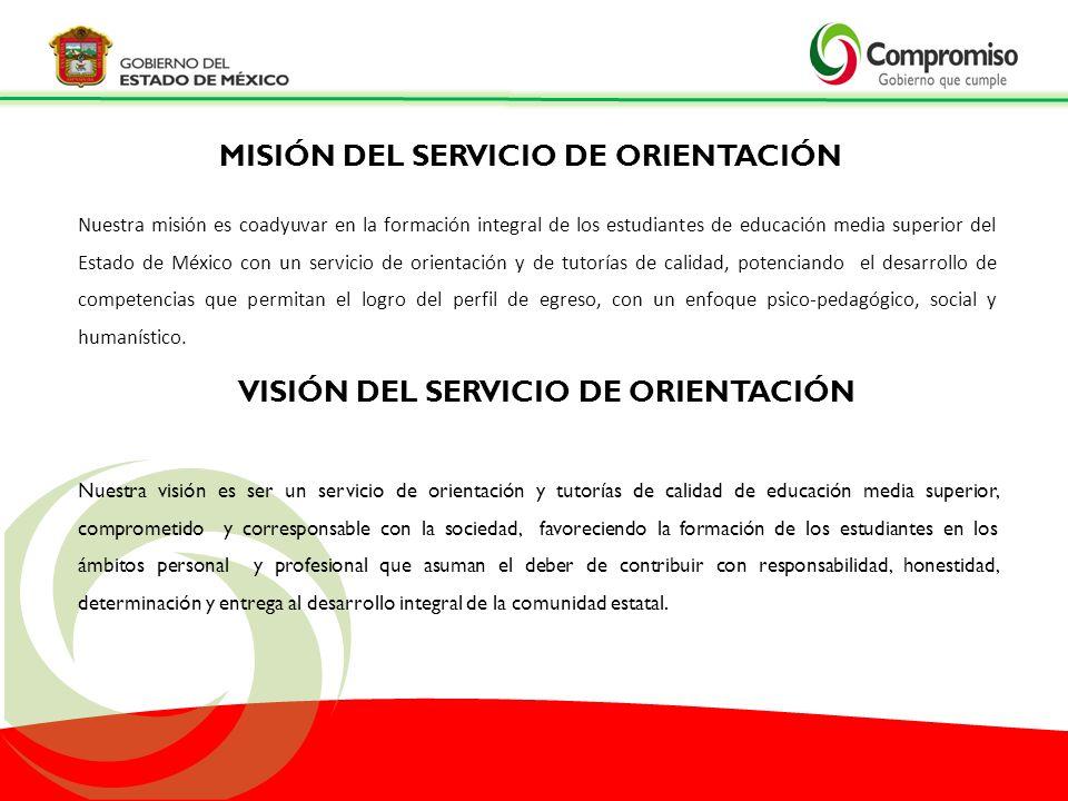 Nuestra misión es coadyuvar en la formación integral de los estudiantes de educación media superior del Estado de México con un servicio de orientació