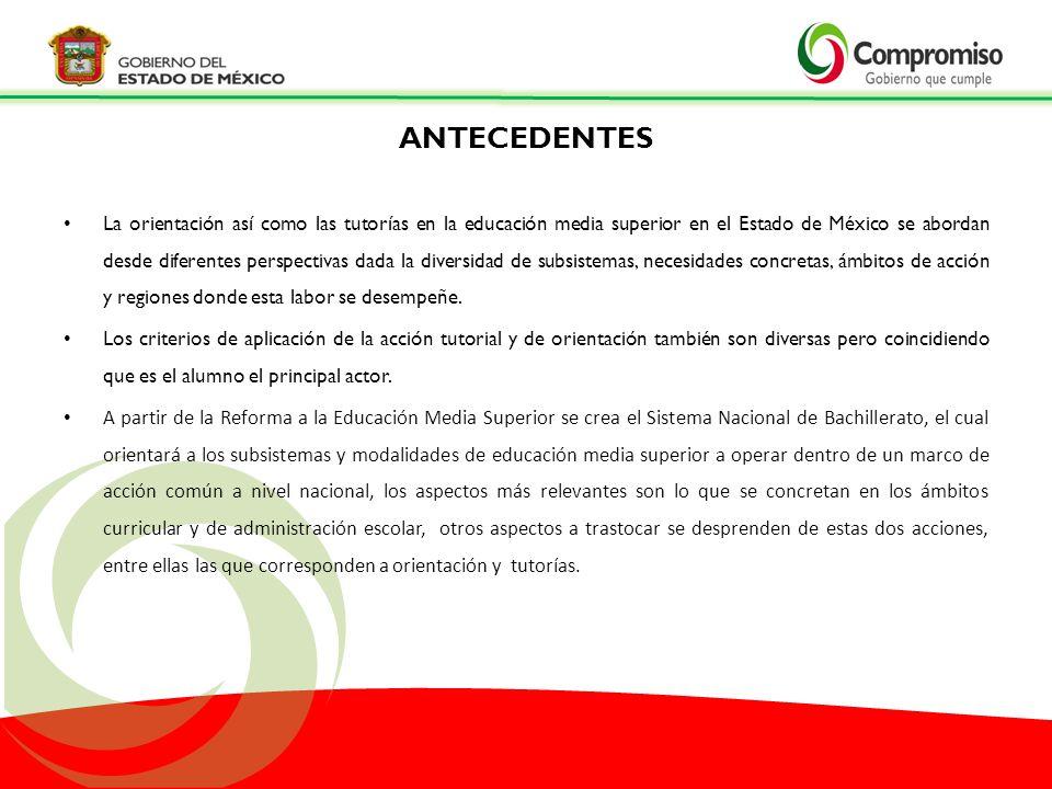 Universidad Autónoma del Estado de México (UAEMéx), Colegio de Estudios Científicos y Tecnológicos del Estado de México (CECyTEM), Colegio de Bachilleres del Estado de México (CoBaEM), Escuelas Preparatorias Oficiales del Estado de México (EPOEMs), Centros de Bachillerato Tecnológico (CBT), Colegio de Educación Profesional Técnica del Estado de México (CONALEP); así como las coordinadas por la Representación en el Estado de la Subsecretaría de Educación Media Superior de la SEP (RESEMS), –Dirección General de Educación Tecnológica Industrial (DGETI), Dirección General de Educación Tecnológica Agropecuaria (DGETA), Dirección General de Bachillerato (DGB) PARTICIPANTES EN EL DESARROLLO DEL PMOE