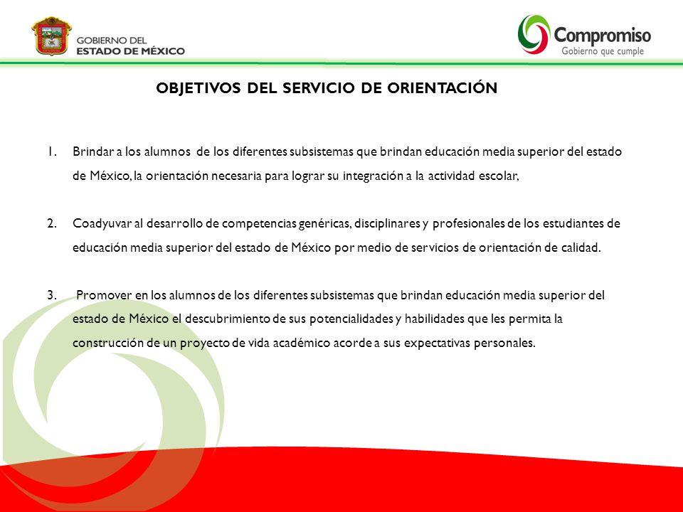1.Brindar a los alumnos de los diferentes subsistemas que brindan educación media superior del estado de México, la orientación necesaria para lograr