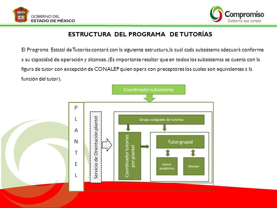 PLANTELPLANTEL El Programa Estatal de Tutorías contará con la siguiente estructura, la cual cada subsistema adecuará conforme a su capacidad de operac