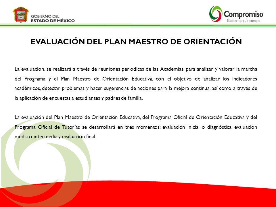 La evaluación, se realizará a través de reuniones periódicas de las Academias, para analizar y valorar la marcha del Programa y el Plan Maestro de Ori