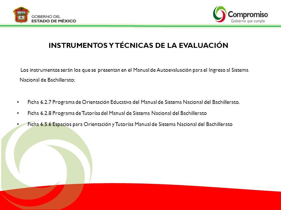 Los instrumentos serán los que se presentan en el Manual de Autoevaluación para el Ingreso al Sistema Nacional de Bachillerato: Ficha 6.2.7 Programa d