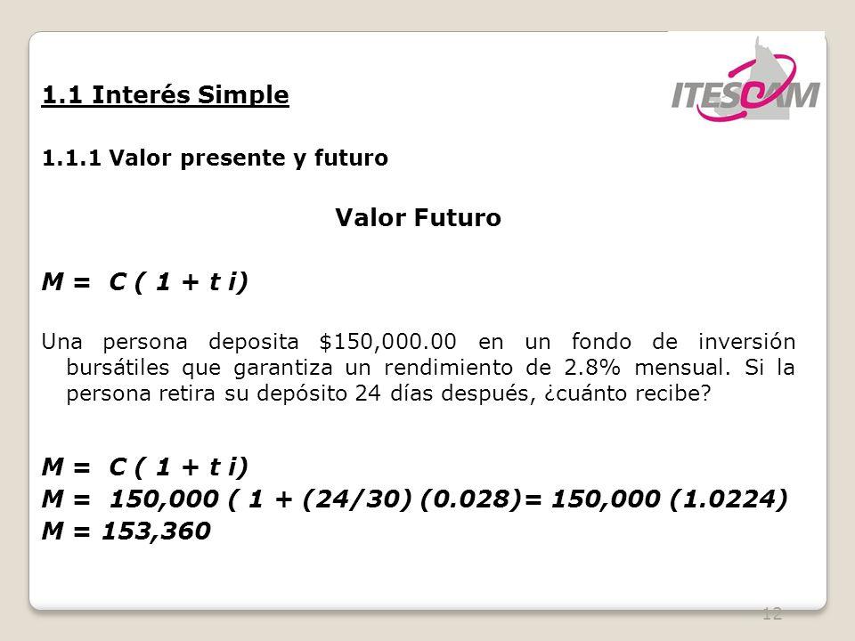 12 1.1 Interés Simple 1.1.1 Valor presente y futuro Valor Futuro M = C ( 1 + t i) Una persona deposita $150,000.00 en un fondo de inversión bursátiles que garantiza un rendimiento de 2.8% mensual.