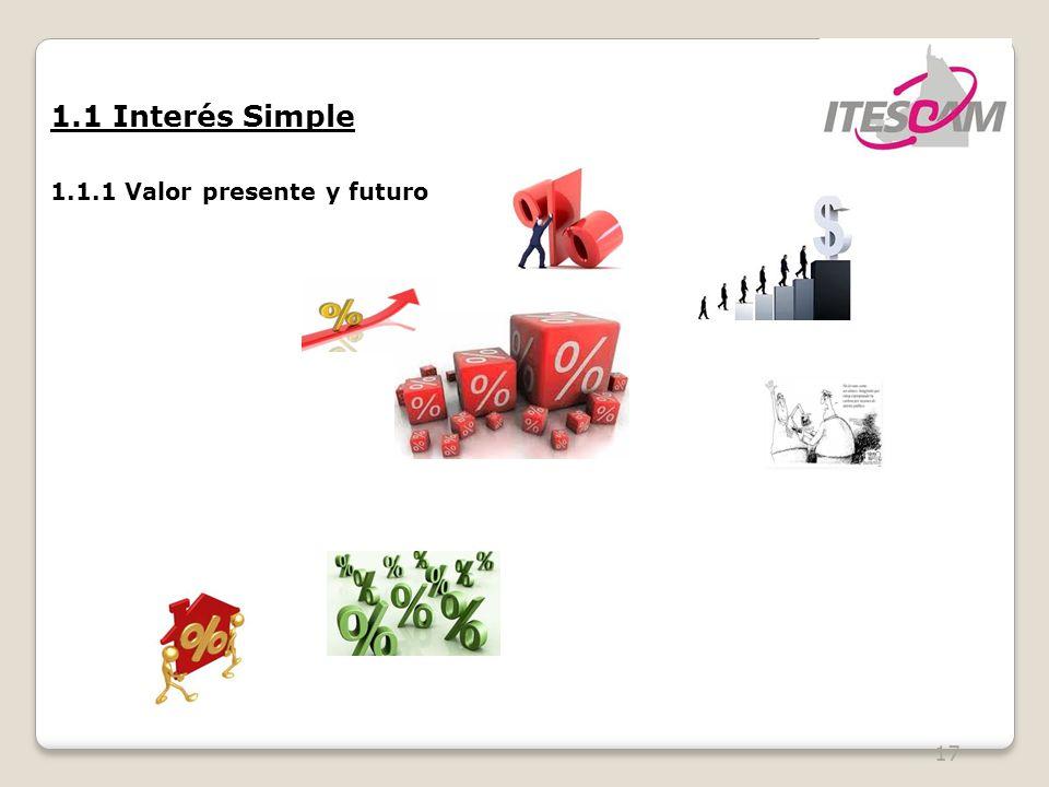 17 1.1 Interés Simple 1.1.1 Valor presente y futuro