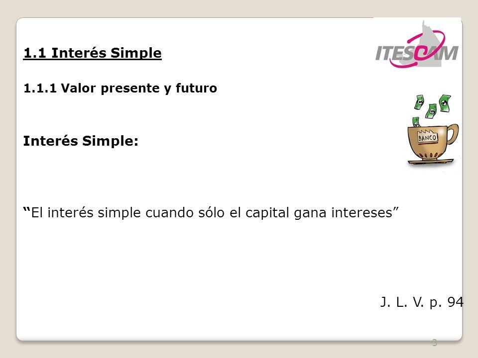 3 1.1 Interés Simple 1.1.1 Valor presente y futuro Interés Simple: El interés simple cuando sólo el capital gana intereses J.