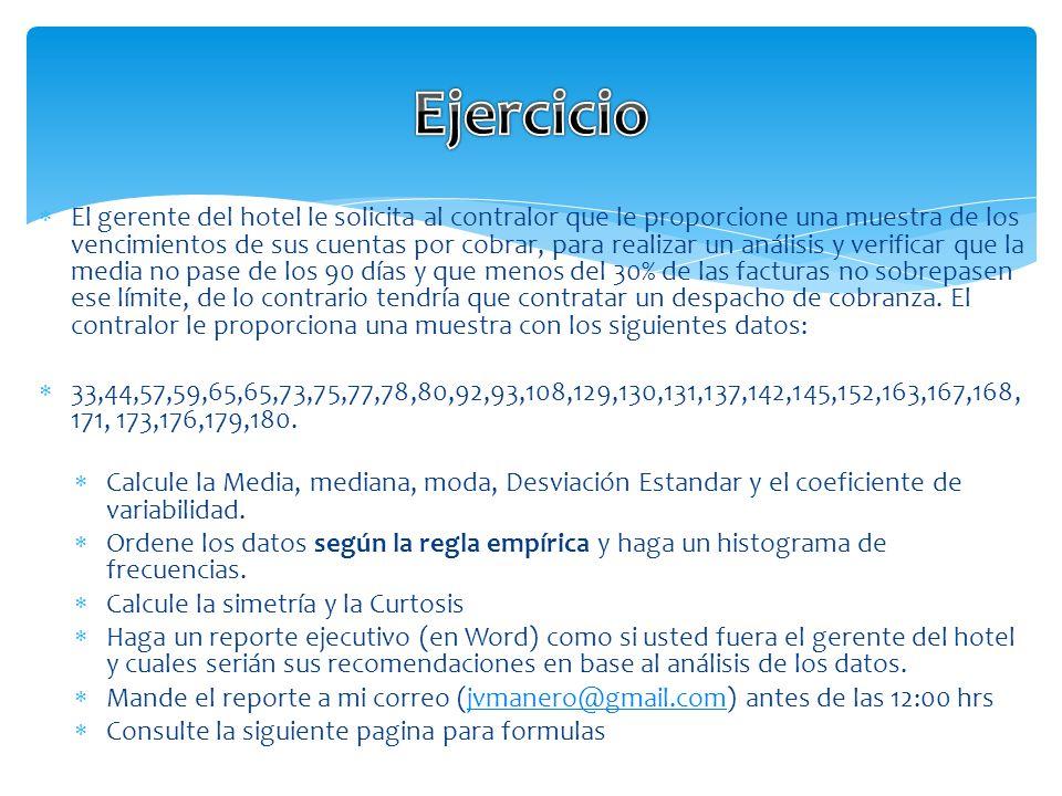 Para el calculo de los Cuartiles utilice: CUARTIL.EXC(rango,cuartil) Ejemplo para el CUARTIL 1: =CUARTIL.EXC(A1:A29,1) Para el de los PERCENTILES use: PERCENTIL.EXC(rango, percentil%) Ejemplo el percentil 10: PERCENTIL.EXC(A1:A29,0.1) Formulas para EXCEL