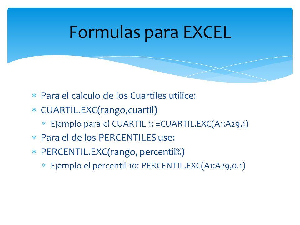 Para el calculo de los Cuartiles utilice: CUARTIL.EXC(rango,cuartil) Ejemplo para el CUARTIL 1: =CUARTIL.EXC(A1:A29,1) Para el de los PERCENTILES use: