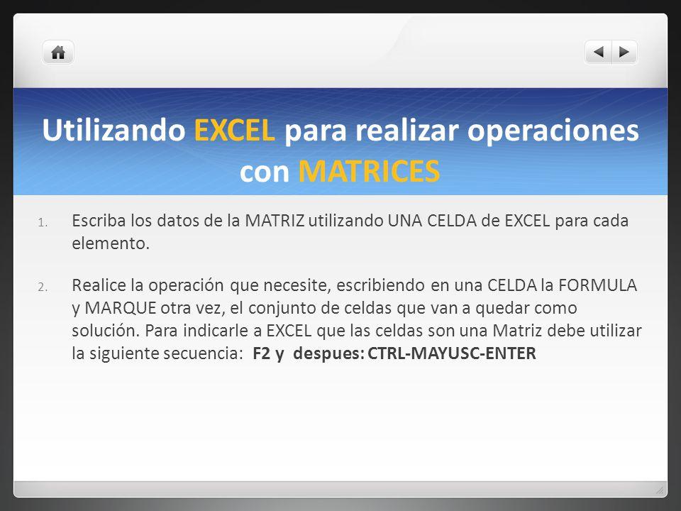 Utilizando EXCEL para realizar operaciones con MATRICES 1. Escriba los datos de la MATRIZ utilizando UNA CELDA de EXCEL para cada elemento. 2. Realice