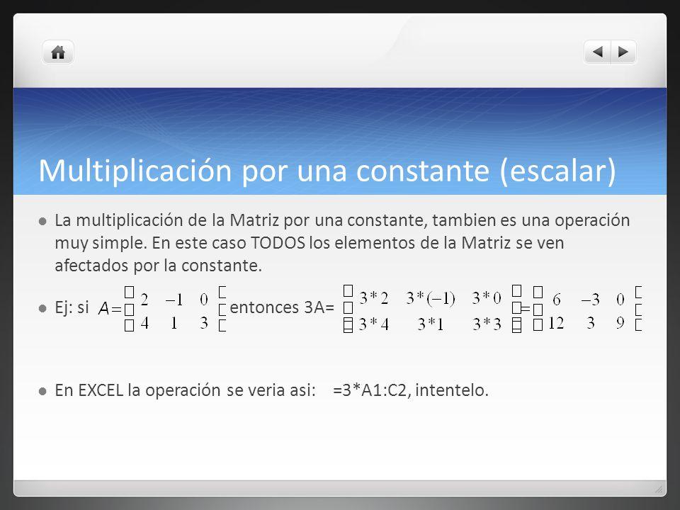 Multiplicación por una constante (escalar) La multiplicación de la Matriz por una constante, tambien es una operación muy simple. En este caso TODOS l