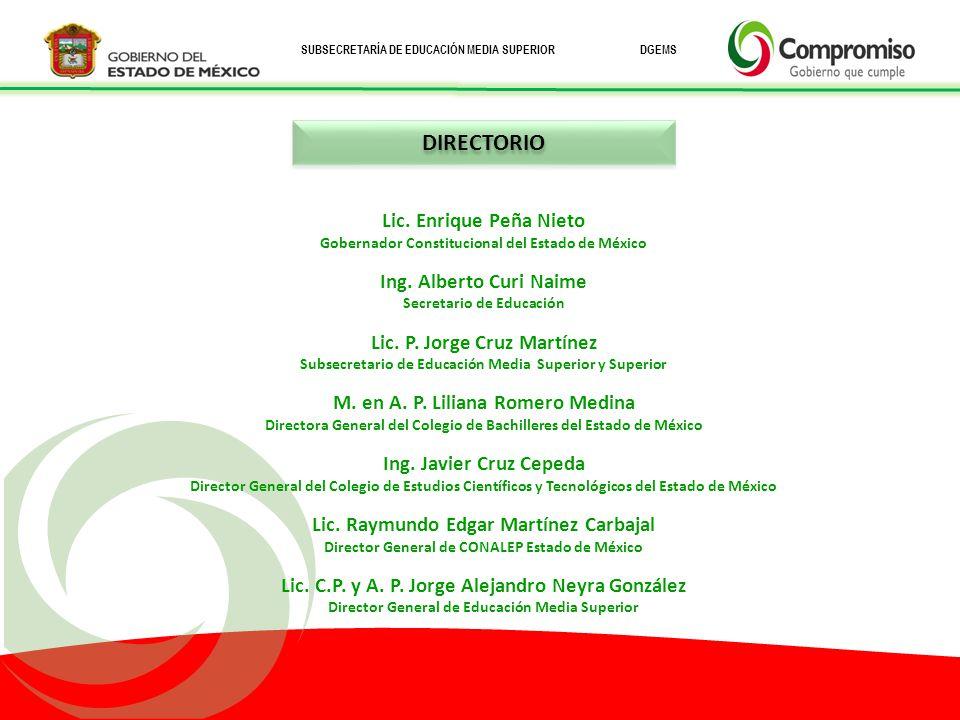 SUBSECRETARÍA DE EDUCACIÓN MEDIA SUPERIOR DGEMS Lic.