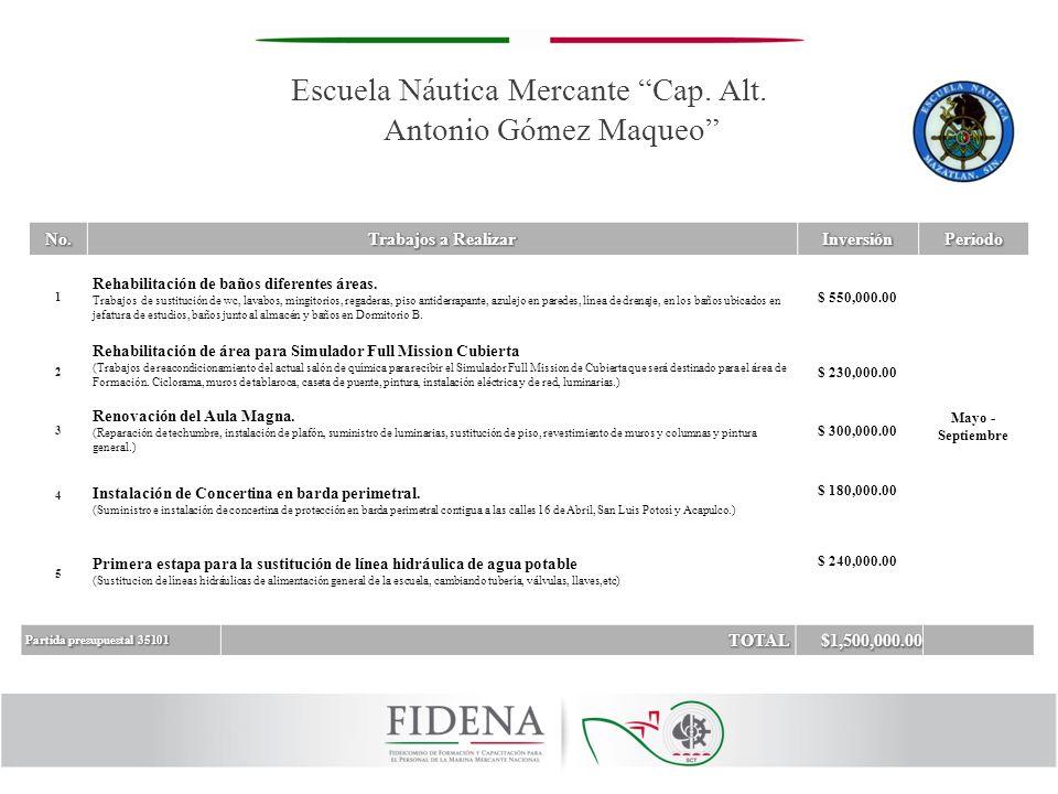 Escuela Náutica Mercante Cap. Alt. Antonio Gómez Maqueo 1 Rehabilitación de baños diferentes áreas. Trabajos de sustitución de wc, lavabos, mingitorio