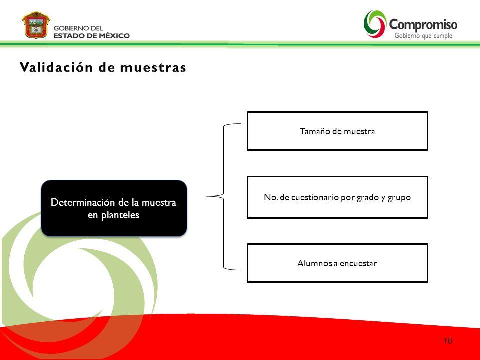Determinación de la muestra en planteles Determinación de la muestra en planteles Tamaño de muestra No.