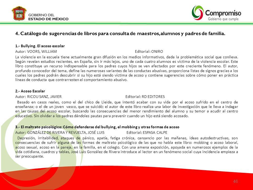 4.Catálogo de sugerencias de libros para consulta de maestros, alumnos y padres de familia.