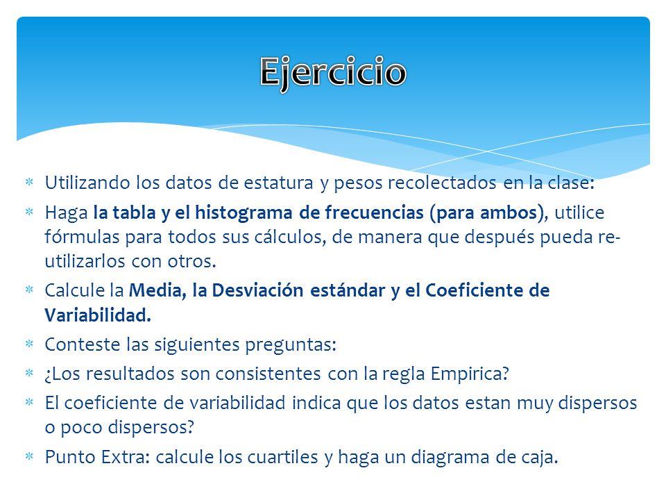PROMEDIO(rango) DESVESTP(rango) CV=Desvestp/Promedio x 100 Formulas de EXCEL que va a utilizar