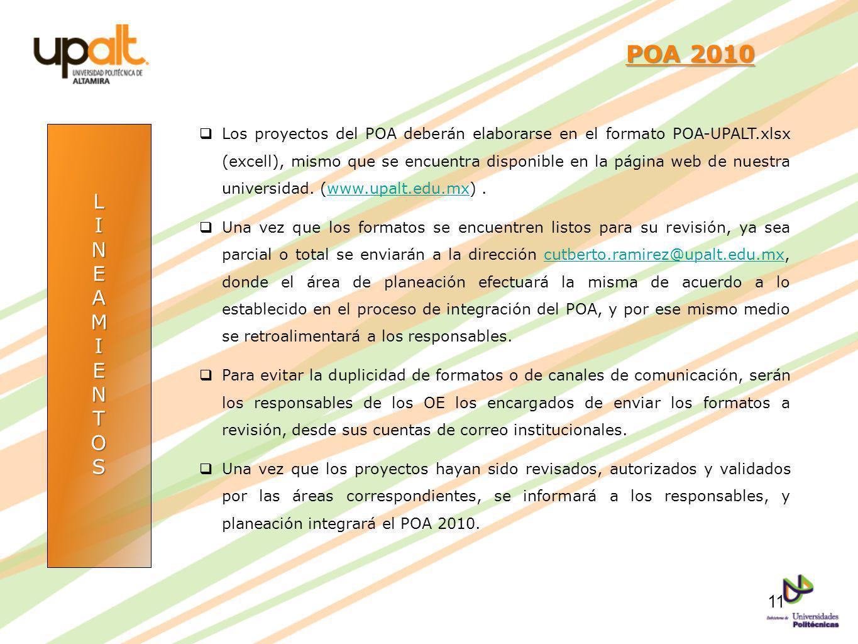 LINEAMIENTOS POA 2010 POA 2010 Los proyectos del POA deberán elaborarse en el formato POA-UPALT.xlsx (excell), mismo que se encuentra disponible en la