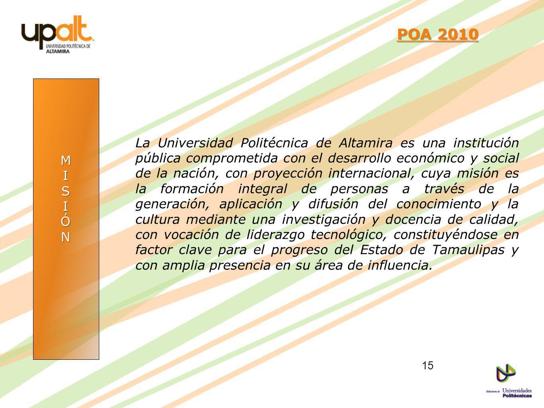 MISIÓN POA 2010 POA 2010 La Universidad Politécnica de Altamira es una institución pública comprometida con el desarrollo económico y social de la nac