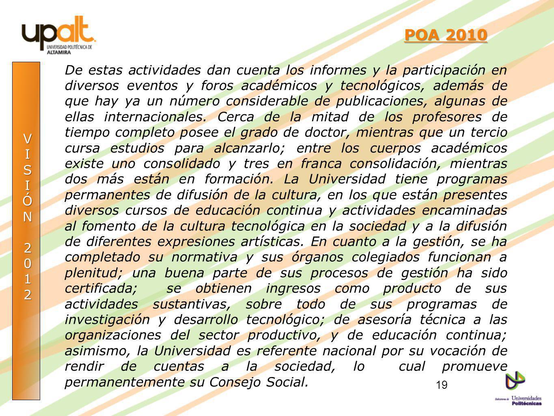 VISIÓN2012 POA 2010 POA 2010 De estas actividades dan cuenta los informes y la participación en diversos eventos y foros académicos y tecnológicos, ad