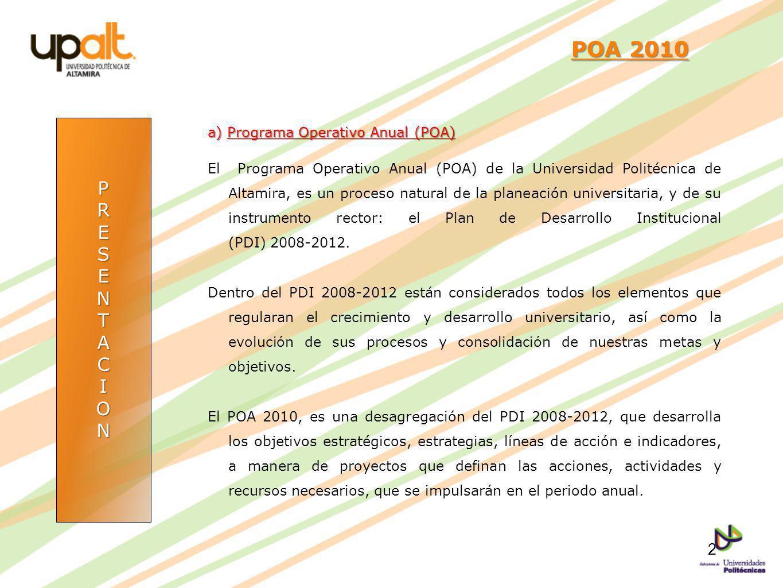 PRESENTACION POA 2010 POA 2010 a) Programa Operativo Anual (POA) El Programa Operativo Anual (POA) de la Universidad Politécnica de Altamira, es un pr