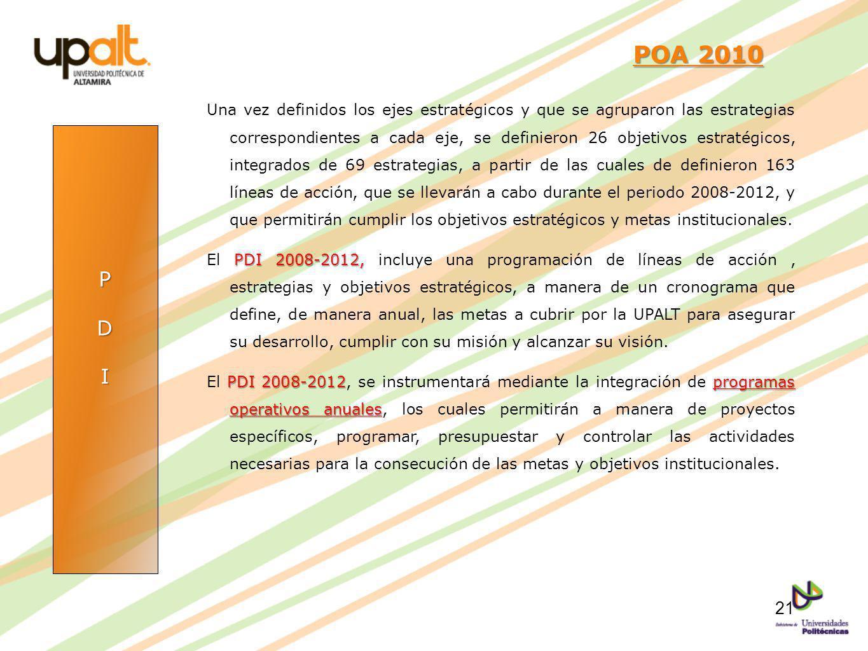 PDI POA 2010 POA 2010 Una vez definidos los ejes estratégicos y que se agruparon las estrategias correspondientes a cada eje, se definieron 26 objetiv