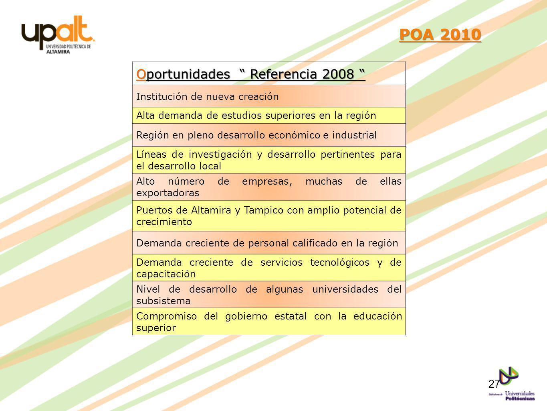 POA 2010 POA 2010 Oportunidades Referencia 2008 Oportunidades Referencia 2008 Institución de nueva creación Alta demanda de estudios superiores en la