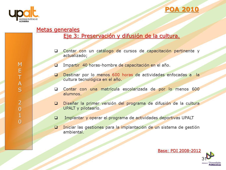 METAS2010 POA 2010 POA 2010 Base: PDI 2008-2012 Metas generales Eje 3: Preservación y difusión de la cultura. Contar con un catálogo de cursos de capa