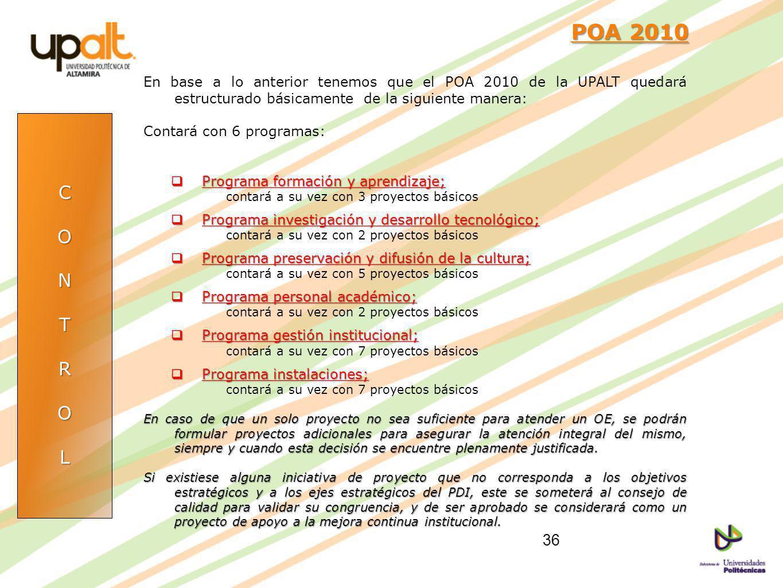 POA 2010 POA 2010 En base a lo anterior tenemos que el POA 2010 de la UPALT quedará estructurado básicamente de la siguiente manera: Contará con 6 pro