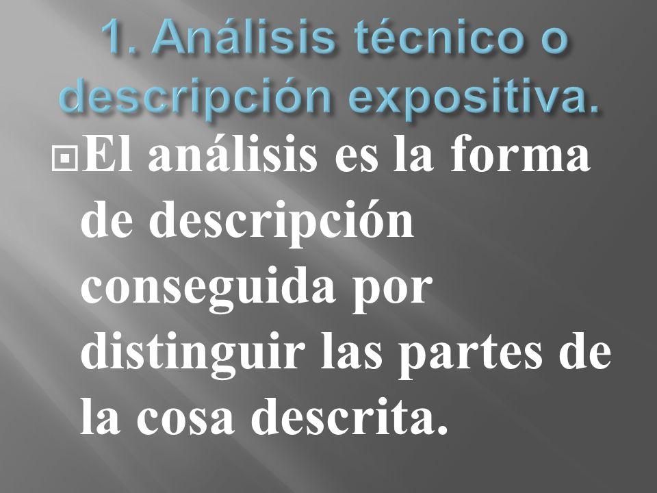 El análisis es la forma de descripción conseguida por distinguir las partes de la cosa descrita.