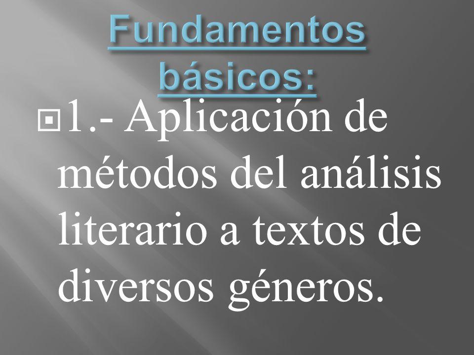 1.- Aplicación de métodos del análisis literario a textos de diversos géneros.