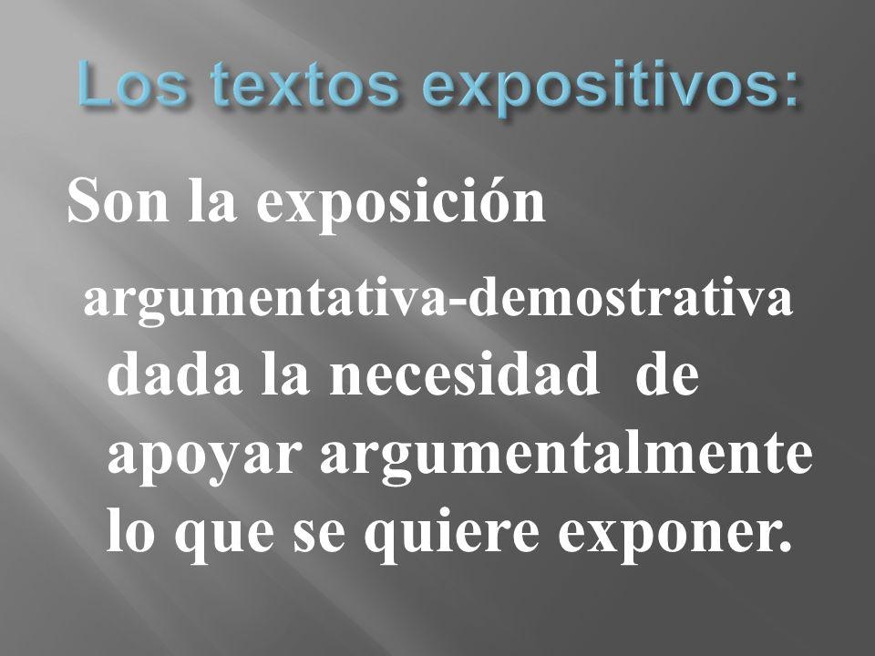 Son la exposición argumentativa-demostrativa dada la necesidad de apoyar argumentalmente lo que se quiere exponer.