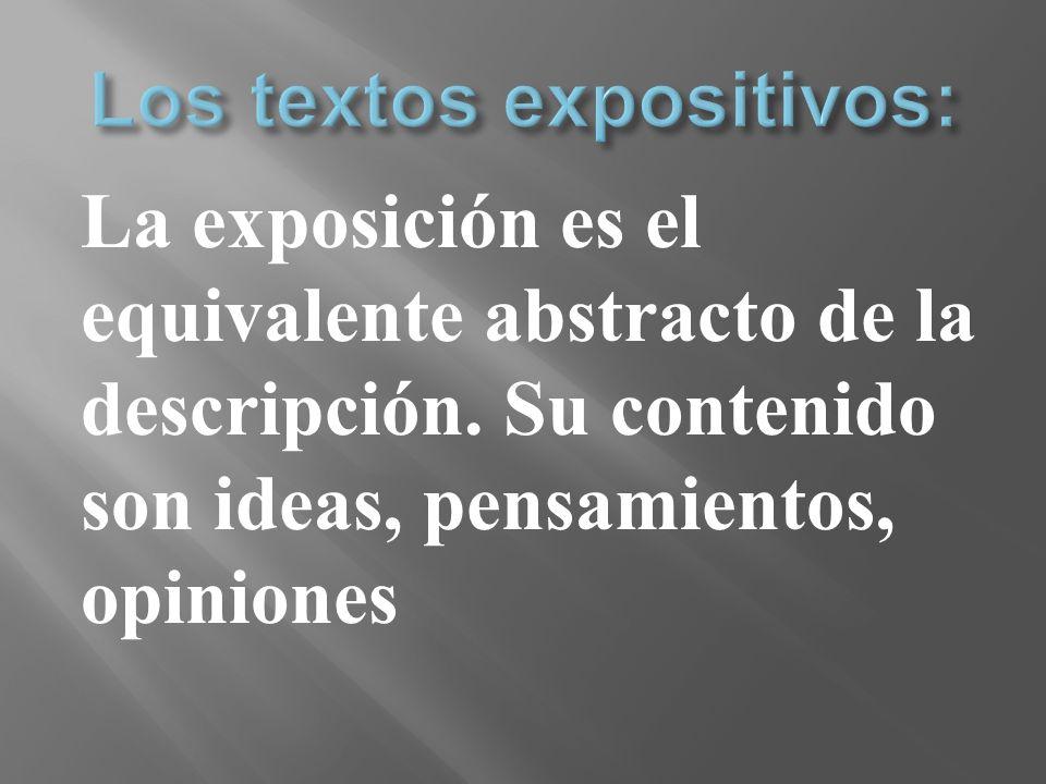 La exposición es el equivalente abstracto de la descripción. Su contenido son ideas, pensamientos, opiniones