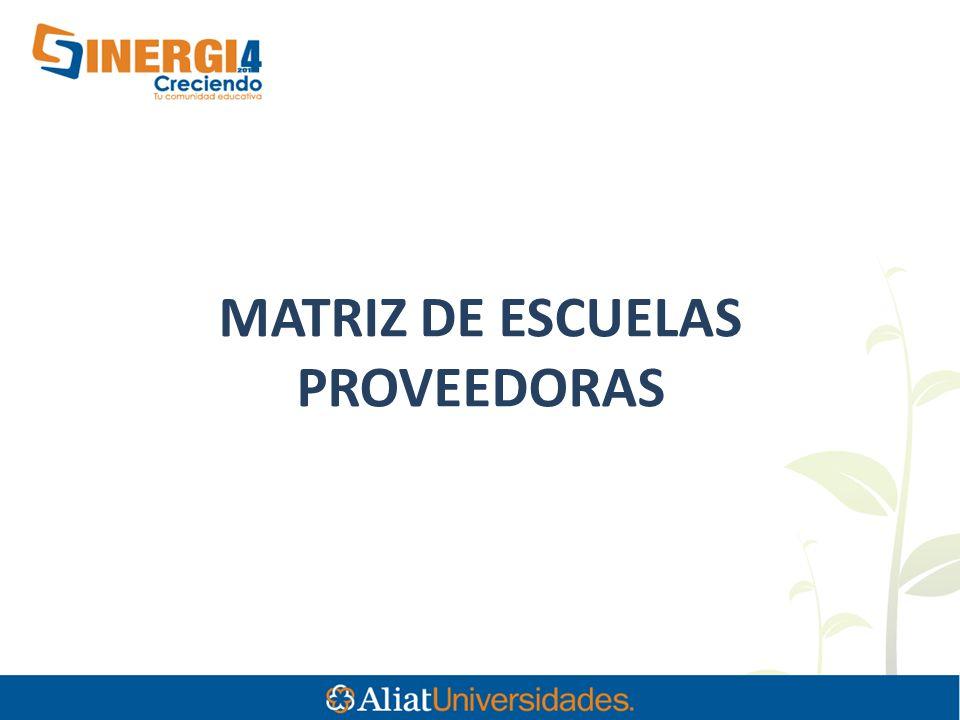 MATRIZ DE ESCUELAS PROVEEDORAS