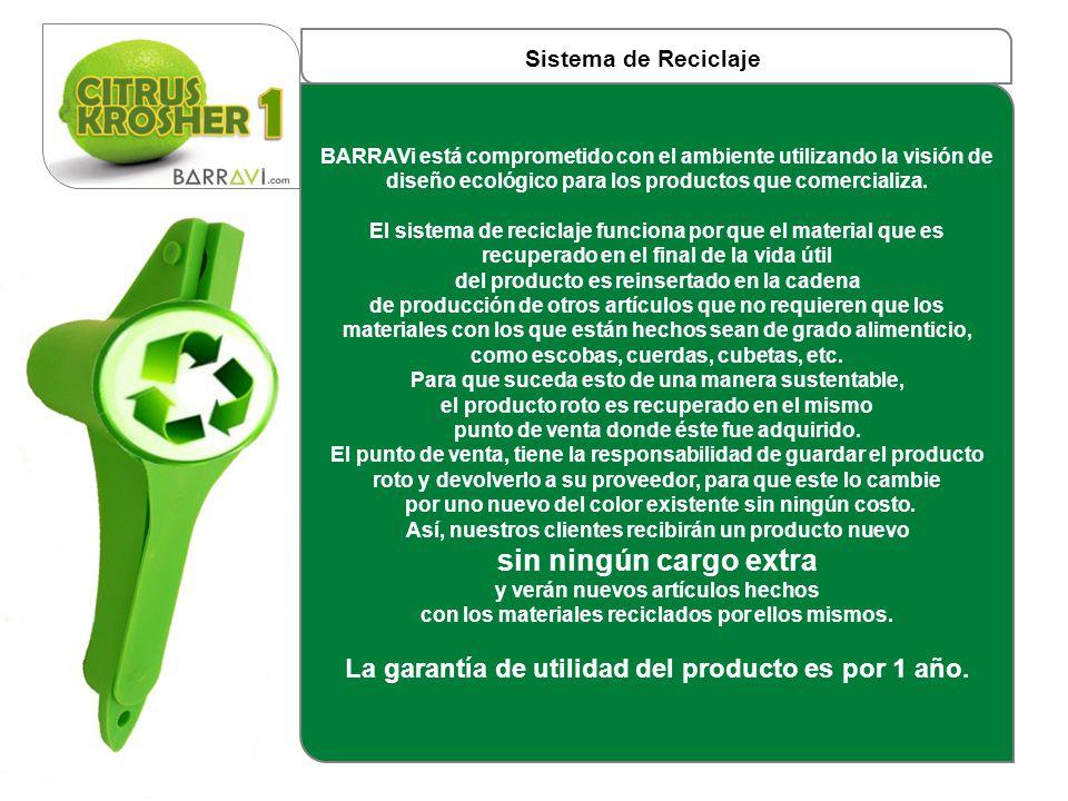 Sistema de Reciclaje BARRAVi está comprometido con el ambiente utilizando la visión de diseño ecológico para los productos que comercializa. El sistem