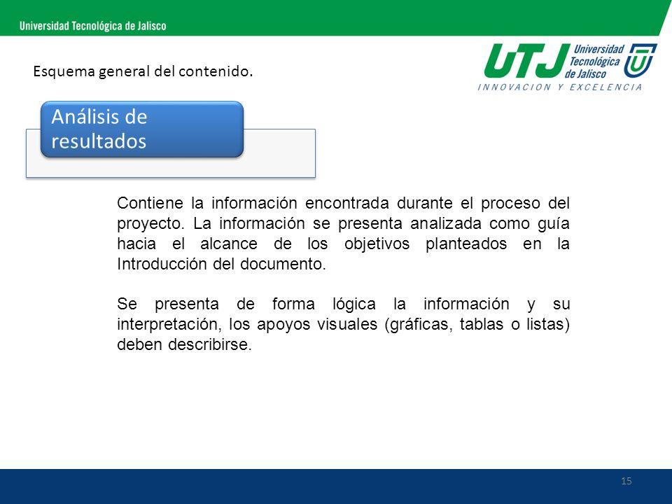 15 Esquema general del contenido. Análisis de resultados Contiene la información encontrada durante el proceso del proyecto. La información se present