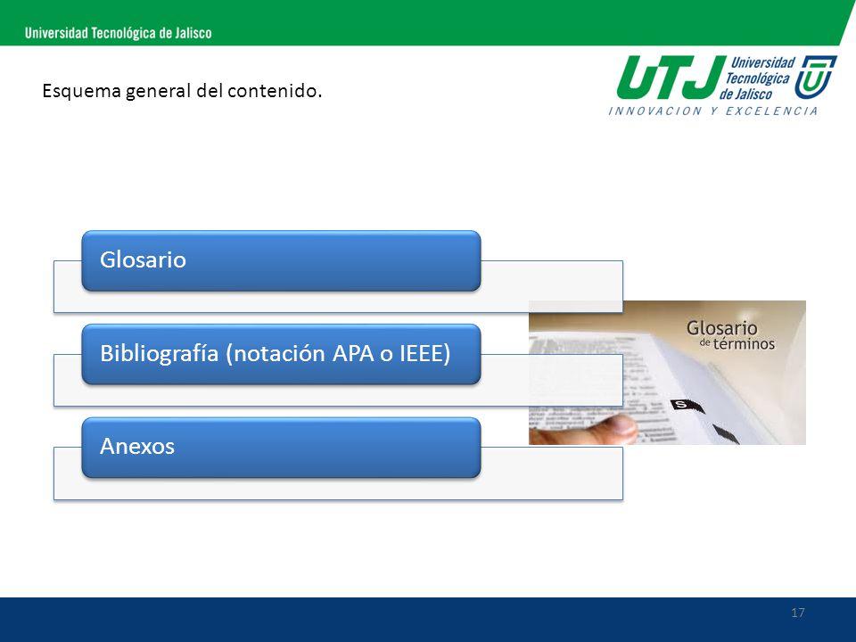 17 Esquema general del contenido. GlosarioBibliografía (notación APA o IEEE)Anexos