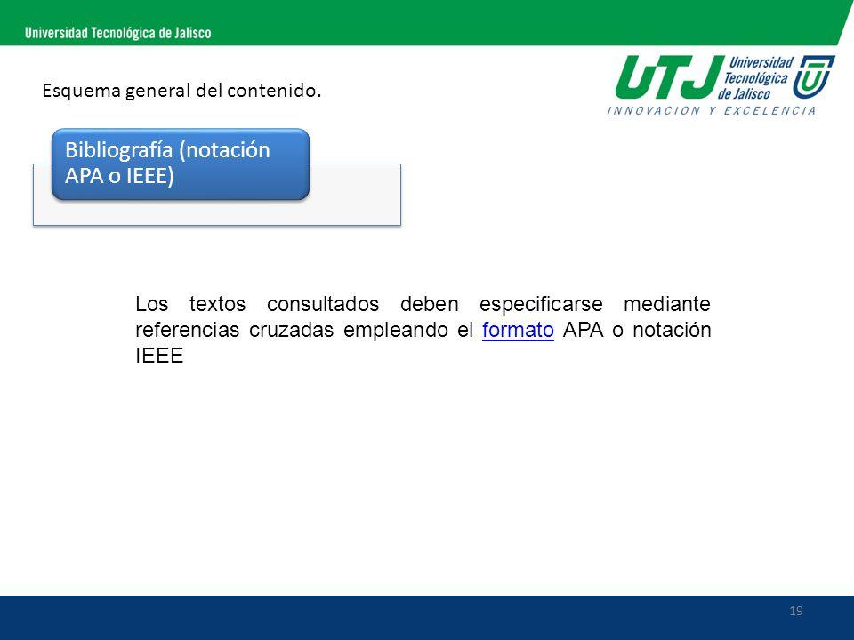 19 Esquema general del contenido. Bibliografía (notación APA o IEEE) Los textos consultados deben especificarse mediante referencias cruzadas empleand