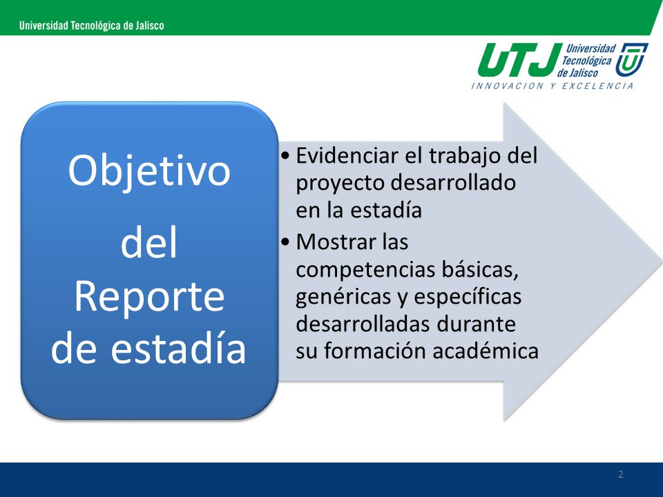 2 Evidenciar el trabajo del proyecto desarrollado en la estadía Mostrar las competencias básicas, genéricas y específicas desarrolladas durante su formación académica Objetivo del Reporte de estadía