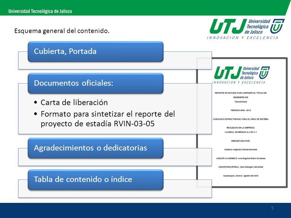 5 Esquema general del contenido. Cubierta, Portada Carta de liberación Formato para sintetizar el reporte del proyecto de estadía RVIN-03-05 Documento