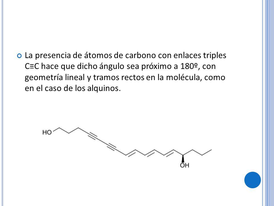 La presencia de átomos de carbono con enlaces triples CC hace que dicho ángulo sea próximo a 180º, con geometría lineal y tramos rectos en la molécula, como en el caso de los alquinos.