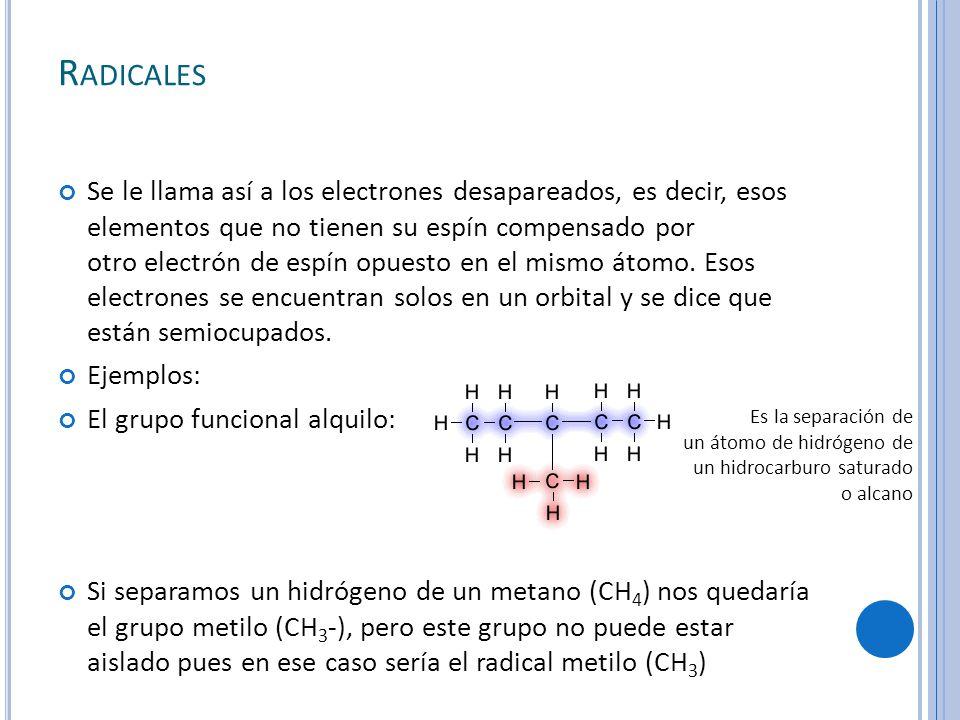 R ADICALES Se le llama así a los electrones desapareados, es decir, esos elementos que no tienen su espín compensado por otro electrón de espín opuesto en el mismo átomo.