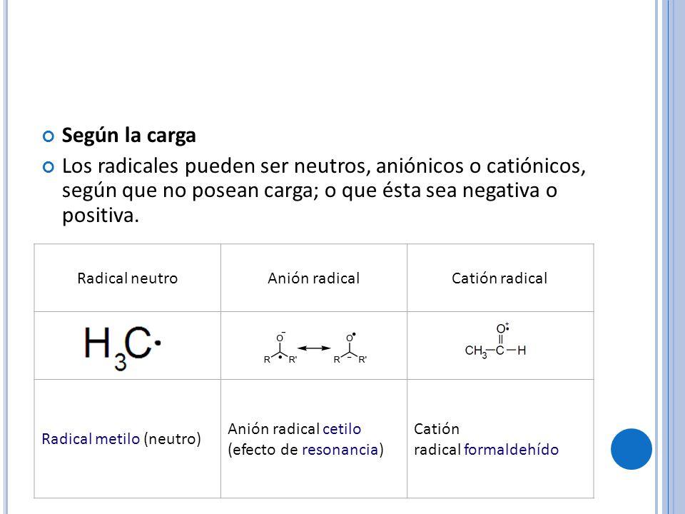 Según la carga Los radicales pueden ser neutros, aniónicos o catiónicos, según que no posean carga; o que ésta sea negativa o positiva.