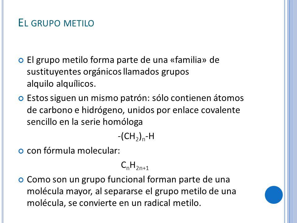 E L GRUPO METILO El grupo metilo forma parte de una «familia» de sustituyentes orgánicos llamados grupos alquilo alquílicos.