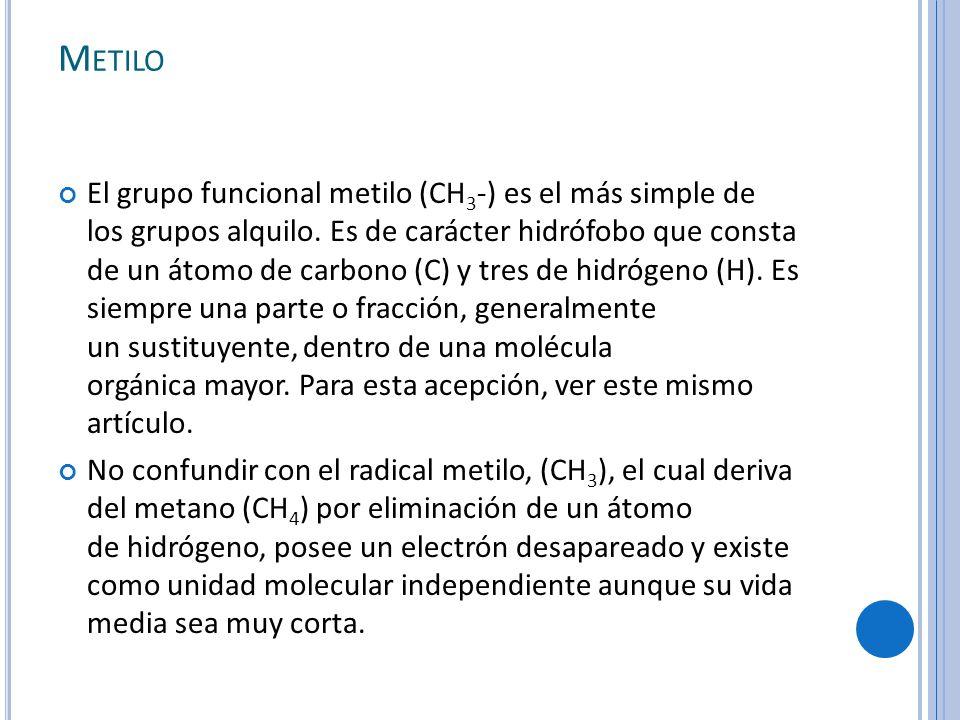 M ETILO El grupo funcional metilo (CH 3 -) es el más simple de los grupos alquilo.