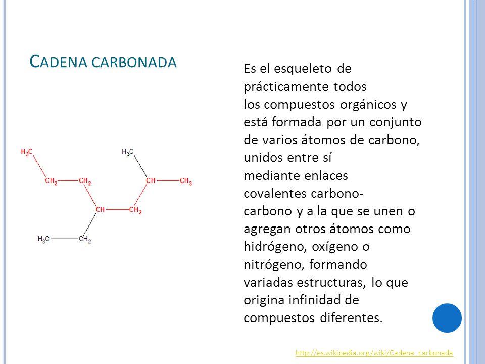 C ADENA CARBONADA Es el esqueleto de prácticamente todos los compuestos orgánicos y está formada por un conjunto de varios átomos de carbono, unidos entre sí mediante enlaces covalentes carbono- carbono y a la que se unen o agregan otros átomos como hidrógeno, oxígeno o nitrógeno, formando variadas estructuras, lo que origina infinidad de compuestos diferentes.