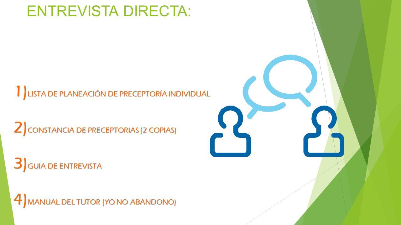 ENTREVISTA DIRECTA: 1) L ISTA DE PLANEACIÓN DE PRECEPTORÍA INDIVIDUAL 2) C ONSTANCIA DE PRECEPTORIAS (2 COPIAS) 3) G UIA DE ENTREVISTA 4) M ANUAL DEL