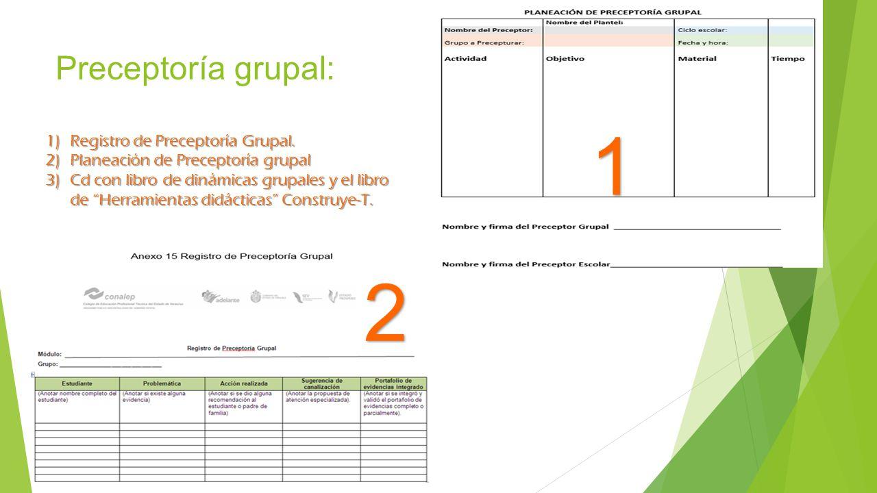 Preceptoría grupal: 1 1)Registro de Preceptoría Grupal. 2)Planeación de Preceptoría grupal 3)Cd con libro de dinámicas grupales y el libro de Herramie