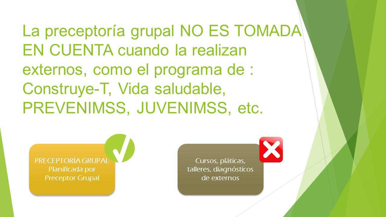 La preceptoría grupal NO ES TOMADA EN CUENTA cuando la realizan externos, como el programa de : Construye-T, Vida saludable, PREVENIMSS, JUVENIMSS, et