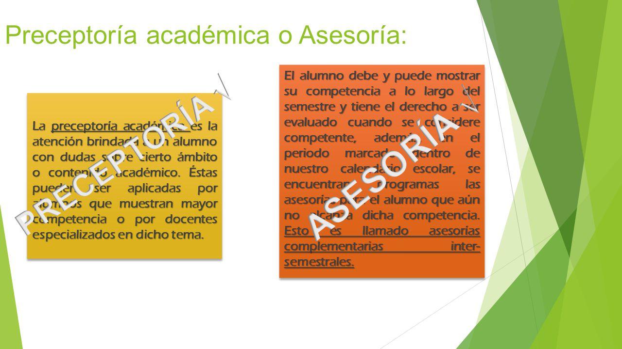 Preceptoría académica o Asesoría: La preceptoría académica es la atención brindada a un alumno con dudas sobre cierto ámbito o contenido académico. És