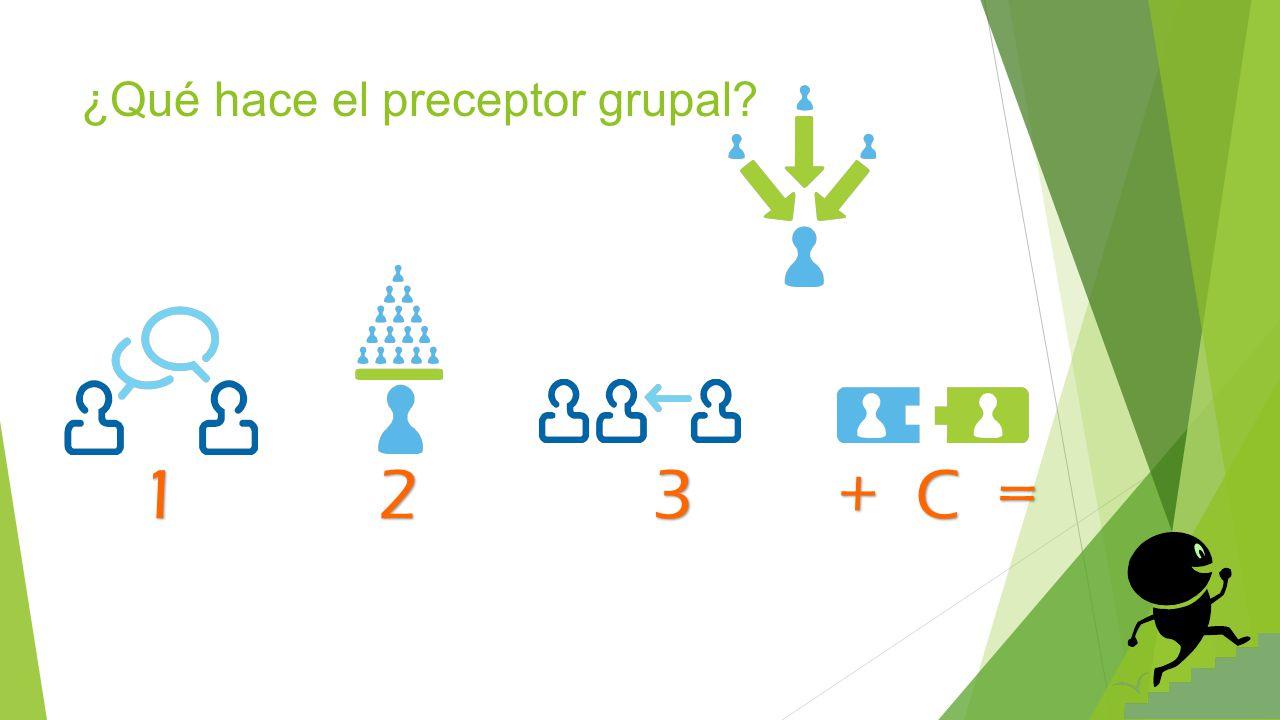 ¿Qué hace el preceptor grupal? 1 2 3 + C =