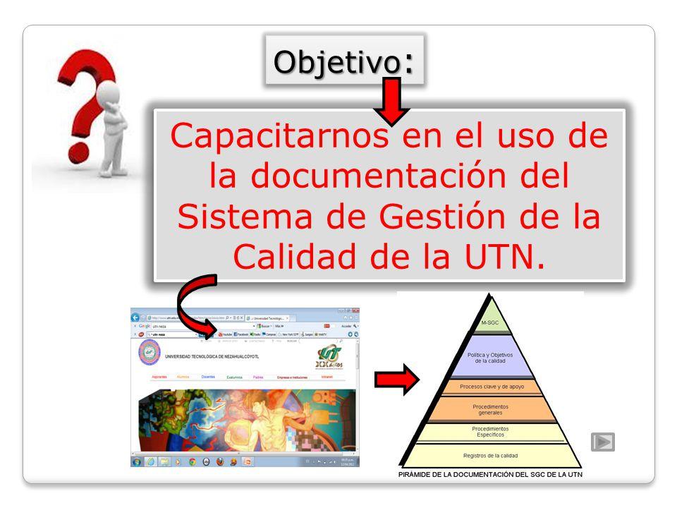 Capacitarnos en el uso de la documentación del Sistema de Gestión de la Calidad de la UTN. Objetivo :